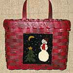 Snowman at Night Punchneedle